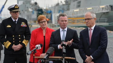 Acting Chief of the Defence Force Vice-Admiral Ray Griggs, Defence Minister Marise Payne, Defence Industry Minister Christopher Pyne, and Prime Minister Malcolm Turnbull at the ASC naval shipyard in South Australia earlier this year.
