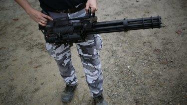A 'mini-gun' at the Knob Creek Machine Gun Shoot in Kentucky earlier this month.