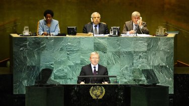 Kevin Rudd, as foreign minister, addresses the United Nations General Assembly in 2010.