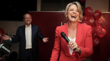 Opposition Leader Bill Shorten and Labor candidate for Bennelong Kristina Keneally address Labor supporters at the end of last year's byelection.