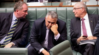 Treasurer Joe Hockey, centre, with Agriculture Minister Barnaby Joyce and Deputy Prime Minister Warren Truss, have sacrificed manufactuing industries for an optimistic punt on agriculture.