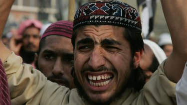A Pakistani supporter of Mumtaz Qadri at a rally to condemn his execution in Lahore, Pakistan, last week.