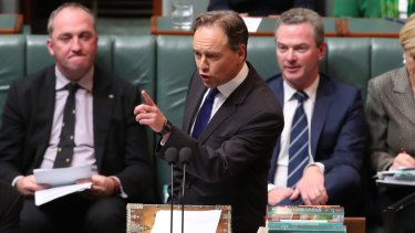 Health Minister Greg Hunt during Question Time at Parliament House in Canberra.