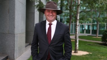 Barnaby Joyce at Parliament House in Canberra.