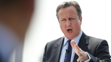 """British Prime Minister David Cameron in London arguing for the """"Remain"""" case on the upcoming EU referendum"""