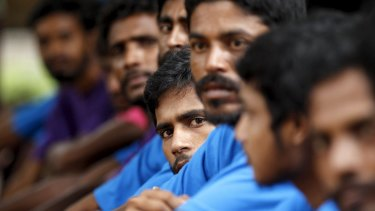 Men from Bangladesh, rescued by the Myanmar navy together..