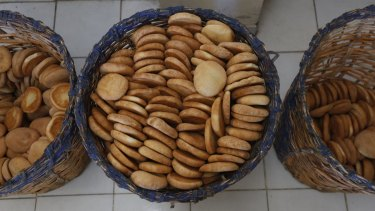 Baskets of bread made by soldiers of the Miraflores army barracks sit for distribution in La Paz, Bolivia.