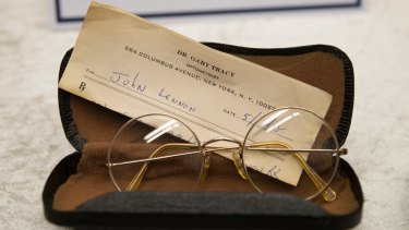 Spectacles belonging to John Lennon, with a prescription by optometrist Gary Tracy, were among the items/