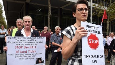 Protesters in Martin Place demonstrating against the NSW government's privatisation of Land and Property Information.