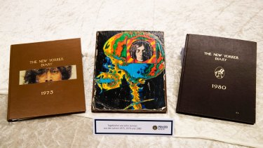 Diaries of John Lennon from the years 1975, 1979 and 1980 displayed at the police headquarters in Berlin.