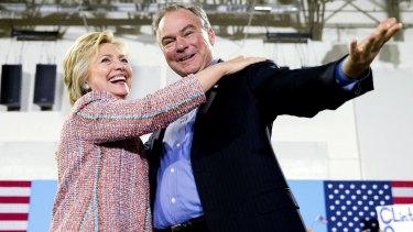 Democratic presidential candidate Hillary Clinton and Senator Tim Kaine in Annandale, Virginia, last week.