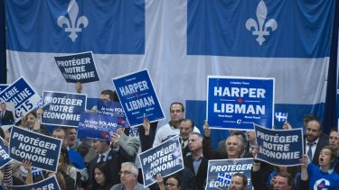 Conservative supporters in Laval, Quebec. The country's second-most-populous province will be crucial to the result.