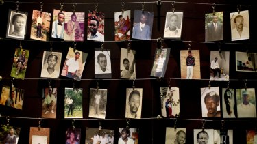 Family photographs of some of those who died hang in a display in the Kigali Genocide Memorial Centre in Kigali, Rwanda, in April.