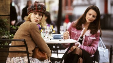 Sarah Jessica Parker, who plays Carrie, left, and Kristin Davis, who plays Charlotte, in a scene from <i>Sex and the City</i>.