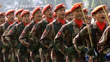Indonesian special forces (Kopassus) soldiers.