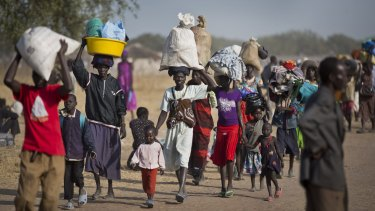 South Sudanese fleeing fighting between government and rebel forces in Bor, South Sudan, last year.
