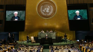 Iranian President Hassan Rouhani delivers his speech to the United Nations General Assembly on Wednesday.