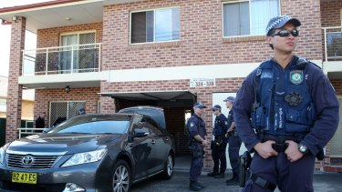 NSW Police during raids on houses in western Sydney this week.