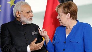 """Indian Prime Minister Narendra Modi says he and German Chancellor Angela Merkel are """"meant for each other""""."""