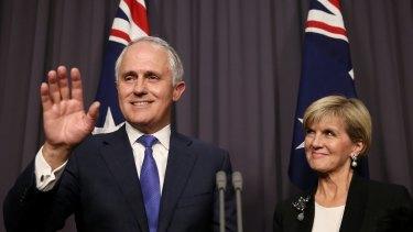 Malcolm Turnbull was accompanied by his deputy Julie Bishop (pictured) and wife Lucy, having just delivered his first press conference as Prime Minister, when he had the insult hurled at him.