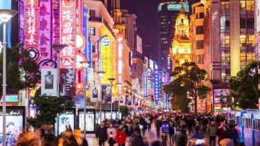 Neon-lit Nanjing Road