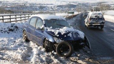 A crashed car near Sheffield in northern England.