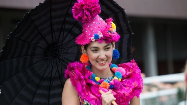 Fashions on the Field regular Angela Menz and the clown dress she designed.