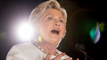 Democratic presidential candidate Hillary Clinton speaks at a rally in Florida on Tuesday.