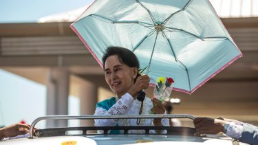 Aung San Suu Kyi campaigning in Rakhine state last year.