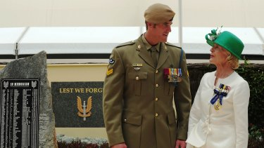 Roberts-Smith talks with then governor-general Quentin Bryce after being awarded the Victoria Cross in 2011.