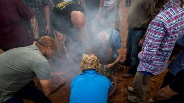 A smoke ceremony at Balranald.