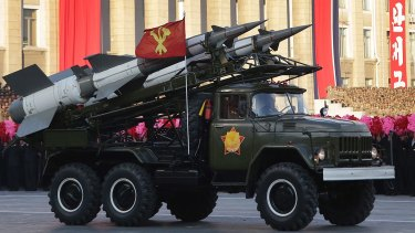 A vehicle loaded with North Korean missiles  on display at a mass rally in Pyongyang's Kim Il-sung Square in 2015.