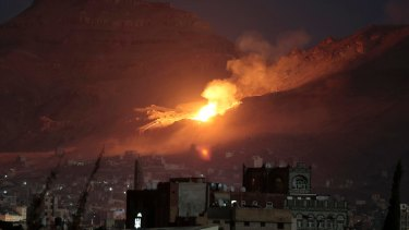 A Saudi-led air strike hits a site believed to be one of the largest weapons depots on the outskirts of Yemen's capital, Sanaa, last week.