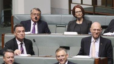Wayne Swan and Julia Gillard on the backbench.