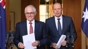 Prime Minister Malcolm Turnbull and Dutton announce the scrapping of 457 visas in April.
