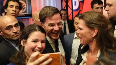 Mark Rutte poses for a selfie with supporters on Wednesday.