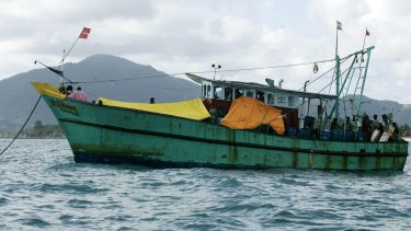 The boat of 44 Sri Lankans remains off the Indonesian coast.