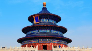 Temple of Heaven with blue sky in Beijing. Blue sky days are now less rare.