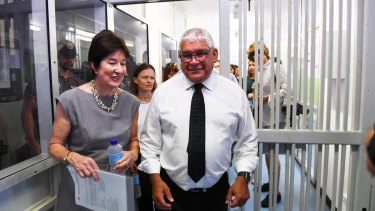Commissioners Mick Gooda and Margaret White during their tour of the current Don Dale Youth Detention facilities.