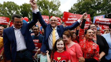 Promising change: Labor leader Luke Foley  attends a Labor rally at Burwood on Sunday with Victorian premier Daniel Andrews and NSW deputy opposition leader Linda Burney.