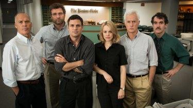 Spotlight: From left, Michael Keaton, Liev Schreiber, Mark Ruffalo, Rachel McAdams, John Slattery and Brian d'Arcy James.