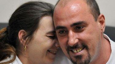Serge Atlaoui with his wife Sabine during a visit at Nusakambangan prison island in 2008.