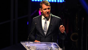 NSW Premier Mike Baird speaks at the at the 32nd Australia Day Lunch in Sydney.