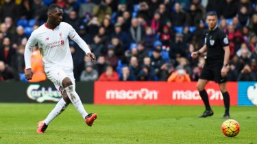 Christian Benteke score from the spot for Liverpool against Crystal Palace at Selhurst Park on Sunday.