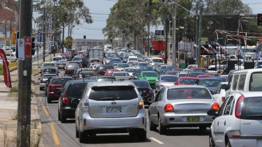 Sydney congestion: Cars on Parramatta Road near Flemington Markets.