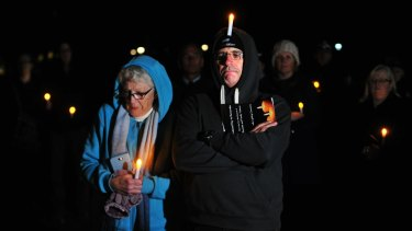 Tara Costigan's grandmother Margaret Costigan and uncle Michael Costigan at the candle lighting ceremony for the National Day of Remembrance at Commonwealth Park in Canberra.