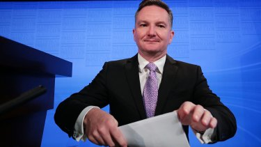 Chris Bowen prepares to deliver his budget reply address at the National Press Club.