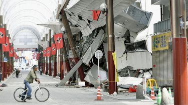 A shopping arcade destroyed by the earthquake in Kumamoto city, southern Japan on Saturday.