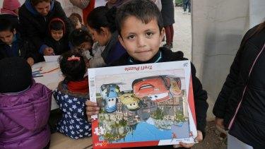 A child in a refugee camp.
