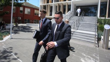 Salim Mehajer  leaves Wollongong Court with his lawyer.